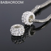 NEW Free Shipping 1Pc Jewelry Silver Bead Charm European Alloy Bead full white Crystal Fit Pandora Bracelet 3107
