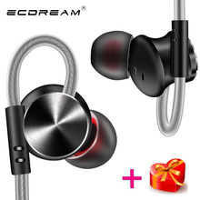 ECDREAM brand earphone volume control with microphone wire earbud running sport stereo magnetic noise canceling for smartphone(China)