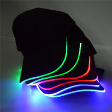 New Adult Men and Women Cotton Black Shining LED Light Baseball Cap Stage Performance Snapback Hats Adjustable Bone 3 Colors(China)