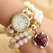 2017 Hot Sell Pearl Watches Female Models Fashion Decorative Heart-wound Diamond Bracelet Watch Students Fashion Quartz-watch