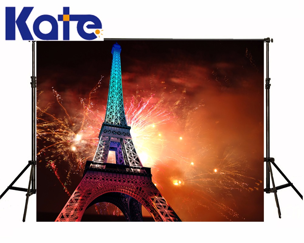 Kate Eiffel Tower Backdrop Color Fireworks Romantic Outdoor Wedding Background Scenic Photography Backdrops<br>
