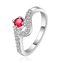 2016 New Top Quality Silver Plated & Stamped 925 wave simple ring with round red big stone ring for women wedding fine Jewelry