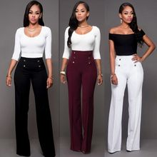 Hot Women Casual Harem Long Pants High Waist Elastic High Waist Cropped Length OL Trousers Solid Black White Wine Red(China)