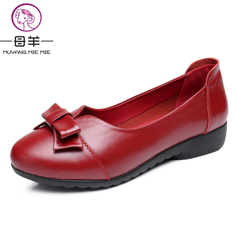2017 Spring Women Shoes Woman Genuine Leather Soft Outsole Single Shoes Female Flat Round Toe Bow Loafers Women Flats<br>