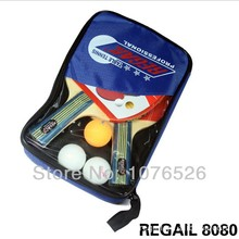 Table Tennis Set 2 Racket + 3 Ball + 1 Racket Pouch Long Handle Shake-hand Pingpong Paddle Balls Sports Accessories Tennis Bag