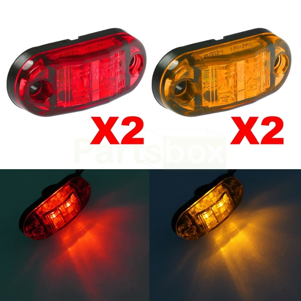 Amber Red Clearance 2 LED Diode 2.5 Oval Side Marker Lamp Light Truck Trailer<br><br>Aliexpress