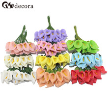 Free Shipping 2.5cm head Multicolor handmade pe foam Calla Lily flower Bouquet/ Scrapbooking artificial lily flowers(144pcs/lot)