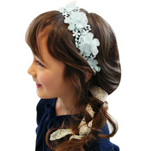 New Sweet Girl Retro Hair Band Kids Headband Lace Crochet Flower Imitation Pearls Hairband Ribbon Girls Hair Accessories F25