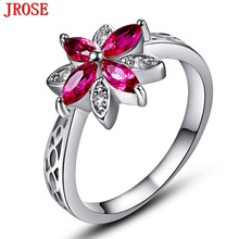 JROSE Wholesale Pretty Beautiful Flowers Red & White CZ White Gold Color Ring Size 6 7 8 9 10 11 12 13 Wedding Women Jewelry