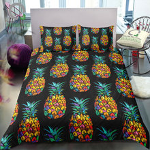 BOMCOM 3D Digital Printing Duvet cover set tropical fruits seamless pattern pineapple on black plant Bedding Set 100% Microfiber(China)