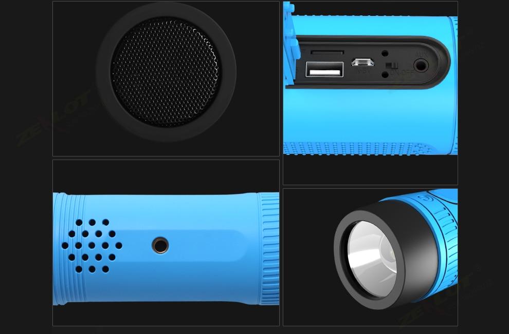 Original ZEALOT S1 Bluetooth Speaker Outdoor Bicycle Portable Subwoofer Bass Speakers 4000mAh Power Bank+LED light