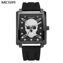 MEGIR Men's Fashion Square Watch Luxury Brand Skull Silicone Strap Sport Quartz Watch Clock Men Army Military Watches(China)
