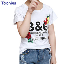 Girls T-shirt Children's T-shirts Summer Casual Girl Tshirts Letter Flower Printed T Shirt High Quality Cotton T Shirts Baby Tee