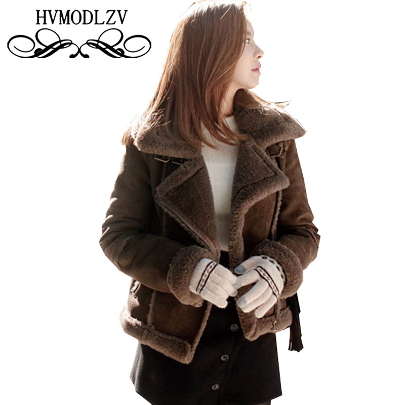 Bomber Jacket Winter Deer Skin Jacket Short Women Cotton Coat 2017 Large Size Lambswool Parka Female Warm Woman Outer wear Ls639Îäåæäà è àêñåññóàðû<br><br>