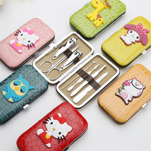 Cartoon Case 7pcs Nail Clipper Kit Nail Care Set Pedicure Scissor Tweezer Knife Ear pick Utility Manicure set for nail Tool