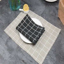 New 100% Cotton Linen Plaid Meal Mat Wedding Decoration Cozinha Eco-friendly Tablo Pallet Coaster Table Placemat Tablecloth(China)