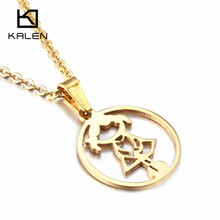 Puerto Rico Women Jewelry Stainless Steel Italian Gold Color Cartoon Girl Tiger Flower Pendant Necklace From China Manufacturer(China)