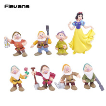 New Snow White and the Seven Dwarfs PVC Figures Toys Cake Topper Kids Toys Gifts 8pcs/set
