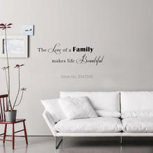 Art Lettering Quotes Wall Stickers The Love of A Family Makes Life Beautiful Vinyl Mural Decals for Home Decor