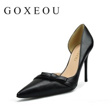 Brand Womens shoes High heels Sexy pointed teo Thin heels Patent Leather Pumps Office Party Lastest Night-Club Bowknot