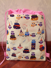 2017 new zoo animal owl ballon cake gift printed pvc coated waterproof non-woven backpack kids school bag,for girls beach bag