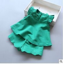 spring summer new children's clothing Set girls Butterflying sleeves shirt Mini Tunic + Wave shorts baby cotton Clothes suit