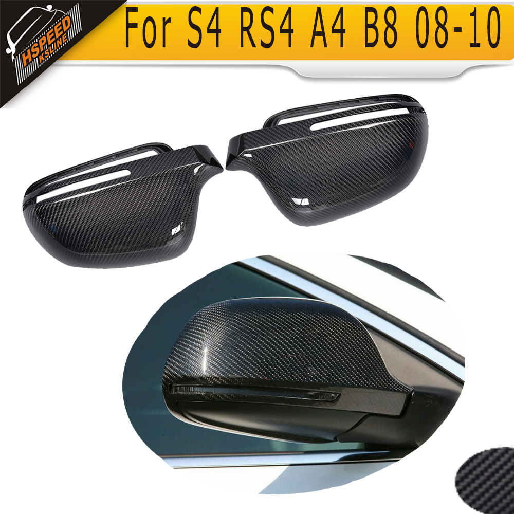 S4 carbon fiber car mirror cover for Audi S4 RS4 A4 B8 2008 2009 2010 without side assist<br><br>Aliexpress