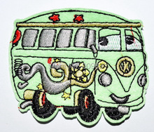 Fillmore Cars  Route 66 Green Bus Patches Sew or Iron On Applique patch Clothes Tee Shirt Hat Jean shoes Pet Clothing