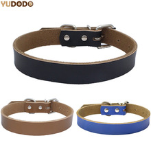 Black/Blue/Brown Real Leather Dog Collars Adjustable Solid Color Thickening Pet Lead Necklace Collar For Small Medium Dog S/M/L