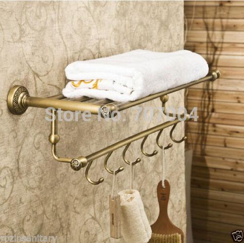 Free Shipping Wholesale and Retail Retro Style Bathroom Double Towel Rail Shelf Wall Mount Bath Storage Holder Rack<br><br>Aliexpress