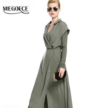 Larga delgada dress nueva colección otoño 2016 miegofce mujeres dress en calidad del otoño de las mujeres de estilo europeo de dos piezas traje