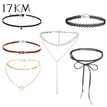 17KM Lace Sequins Choker Set for Women New Fashion Hollow Out Double Layer Long Necklaces Maxi Necklace Collier Leather Jewelry