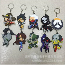 17 style FPS game PVC Cosplay keychains Overwatch ow heroes soft log tracer reaper widowmaker Hanzo pendant Llavero Chaveiro(China)