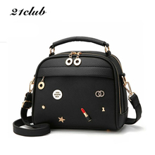 Buy 21club brand 2017 women cute sequined appliques totes handbag hotsale ladies purse flap casual messenger crossbody shoulder bags for $14.95 in AliExpress store