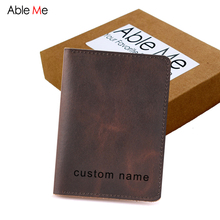 Custom Name Driver License Card Bag Two Pocket Film ID And Driver License Holders 8*10cm Handmade Leather Card Holder Gifts(China)
