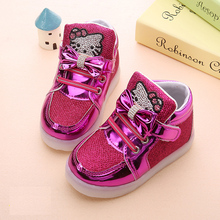 JUSTSL New Cheapest Spring Autumn Winter Children's Sneakers Kids Shoes Chaussure Enfant Hello Kitty Girls Shoes With LED Light