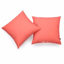 2Pcs Throw Pillow Cover Set Canvas Coral Pink Solid Sofa Chair Car Decor 45cm(China)