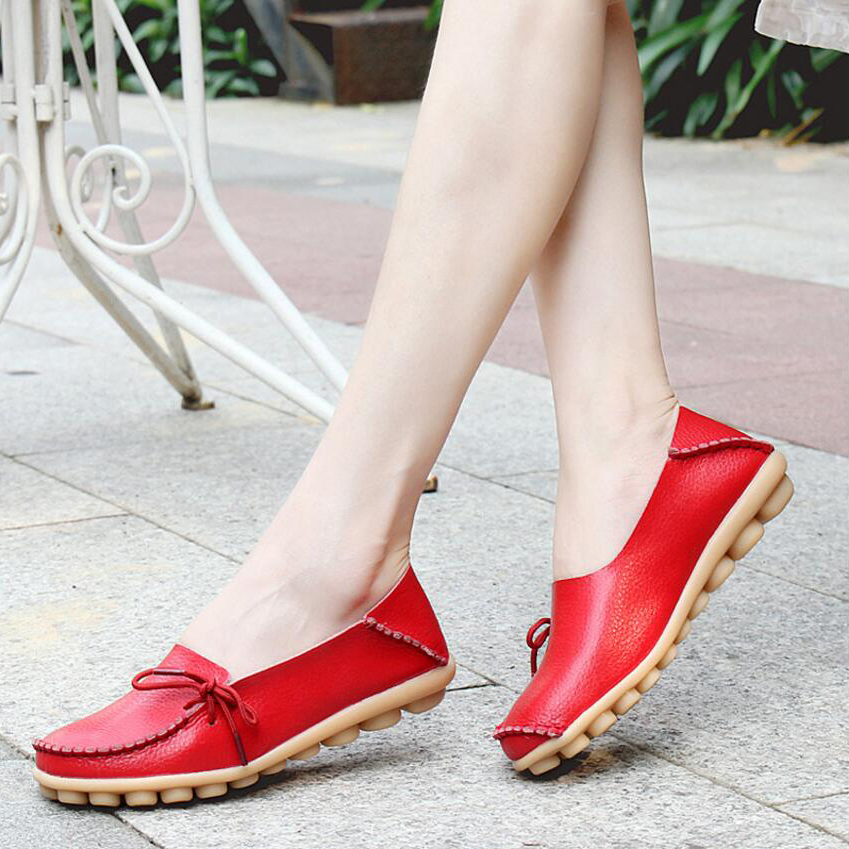Fashion style shoes women Size 34-44 Breathable slip on flats womens casual moccasins genuine leather ballet dress women loafer<br><br>Aliexpress