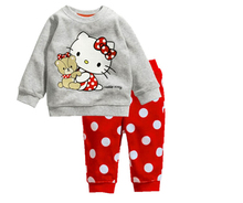 2017 Kids Pajamas Baby Boys Autumn hello kitty Sleepwear Casual Suits Dot Sweatshirt +trousers Cotton Children Clothing Sets
