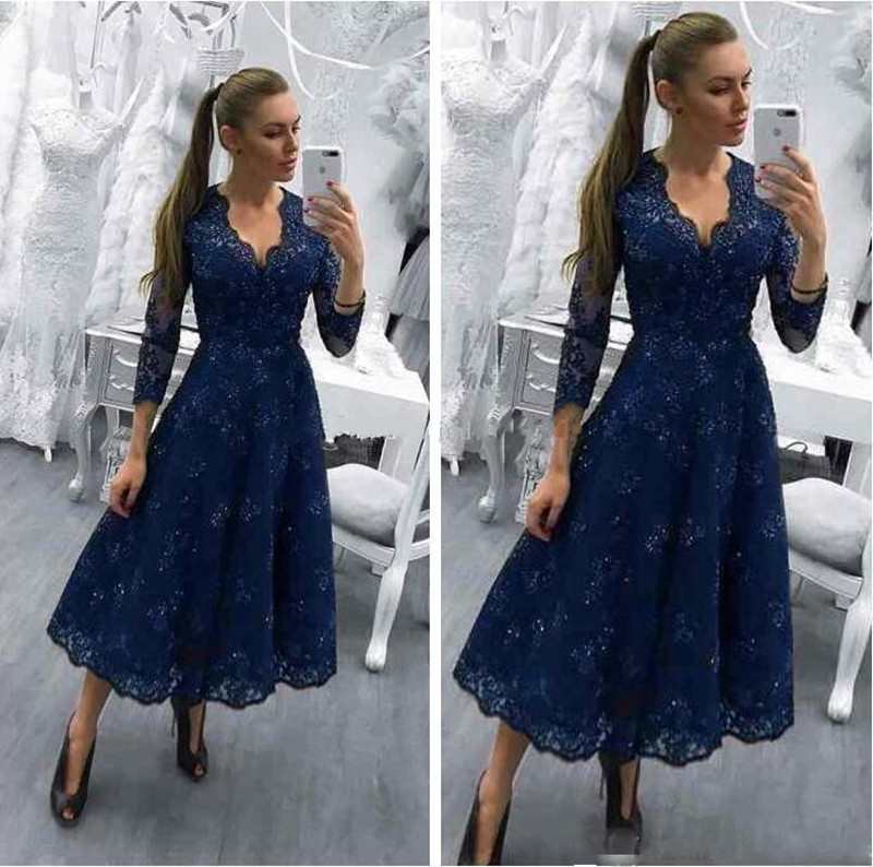 Navy Blue Mother Of The Bride Dresses V-Neck Tea Length Full Lace Women Party Wedding Guest Gowns Plus Size Custom Made Vestidos