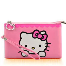 hello kitty girls Wallets cute solid PU Leather doraemon Long bag clutch women wallet Cash phone card kitty coin Purse(China)