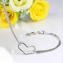 925 Sterling Silver Bracelet for Women Fine Jewelry 925 Silver Heart Charm Bracelets Party Jewelry