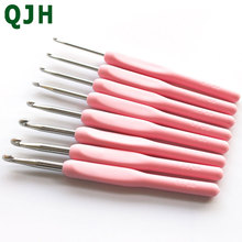 8pcs Soft Plastic handle Metal Crochet Hooks Crochets Needle Needlecrafts Tool Knitting Needles For Loom Hand DIY Crafts 2.5-6mm