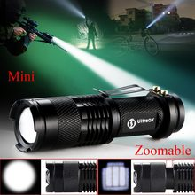 High-quality Mini Black CREE Q5 2000 Lumens LED Flashlight Zoomable LED Torch penlight For AA/14500 free shipping