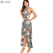 Gamiss 2017 Sexy Deep V-neck Maxi Dress Halter Neck Hollow Out Backless Floral Pattern High-low Hem Asymmetrical Dress vestidos
