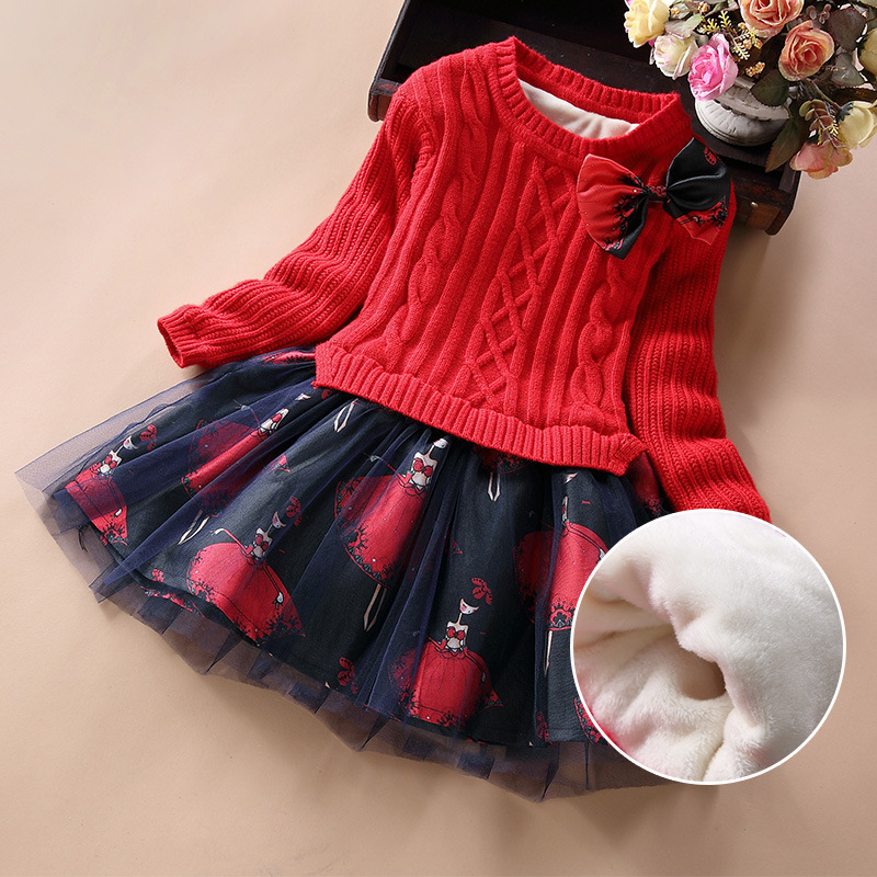 Kids Dress For Girls Winter Warm Velvet Plus Long Sleeve Knitwear Pullover + Cartoon Character Printed Mesh Tutu Dress SY<br>