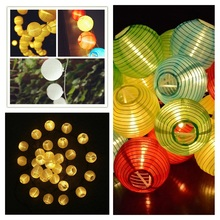 Muilt Color 30 LED Lantern Ball Solar String Lights Outdoor Solar Lamp Fairy Globe Christmas Decorative Light for Party Holiday