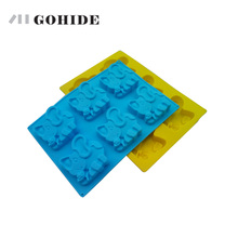 GOHIDE 6-in-1 jelly pudding mold cartoon animal model of silicone jelly mold cow / elephant shape for choice with free shipping