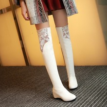 Black Fashion Spring Women's PU Leather Over The Knee Long Boots Sexy Lady Autumn Winter Lace Wedges Plus Size Thigh High Boots