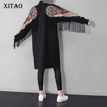 [XITAO] 2016 Women's knee length straight form O-neck pullovers full regular sleeve appliques wings with tassel dress LLB-150